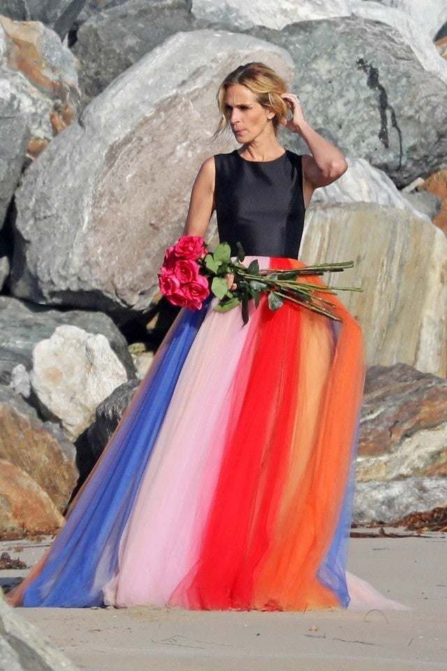 Julia Roberts Looks Radiant In Rainbow Gown At Malibu