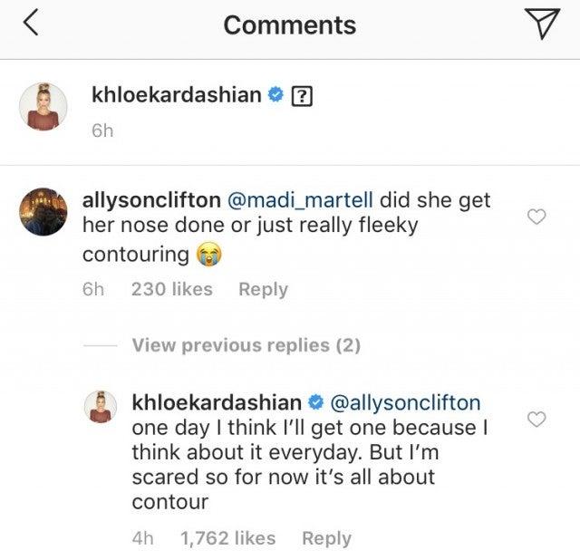 Khloe Kardashian Nose Job Comment