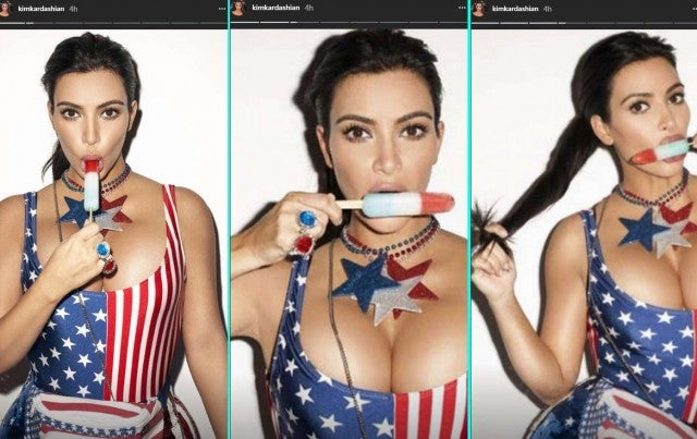 Kim Kardashian celebrates the 4th of July with a popcicle