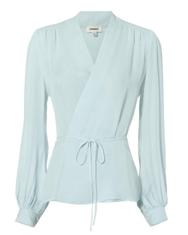L'Agence blue wrap blouse