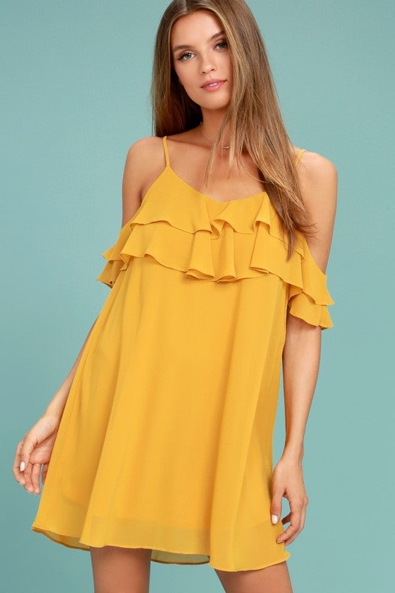 Lulus Impress The Best Yellow Off-The-Shoulder Dress