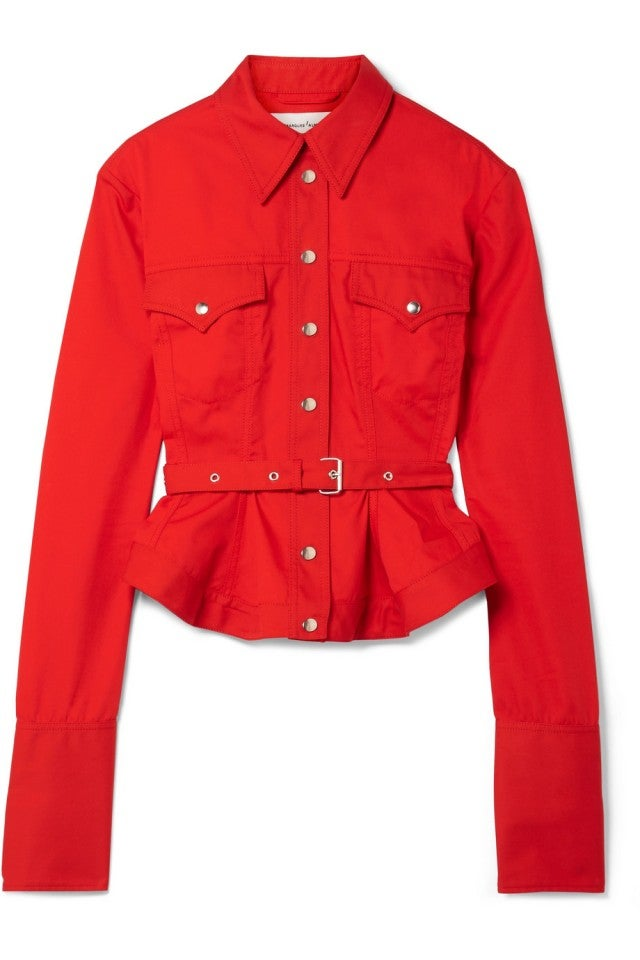 Marques Almeida red belted jacket