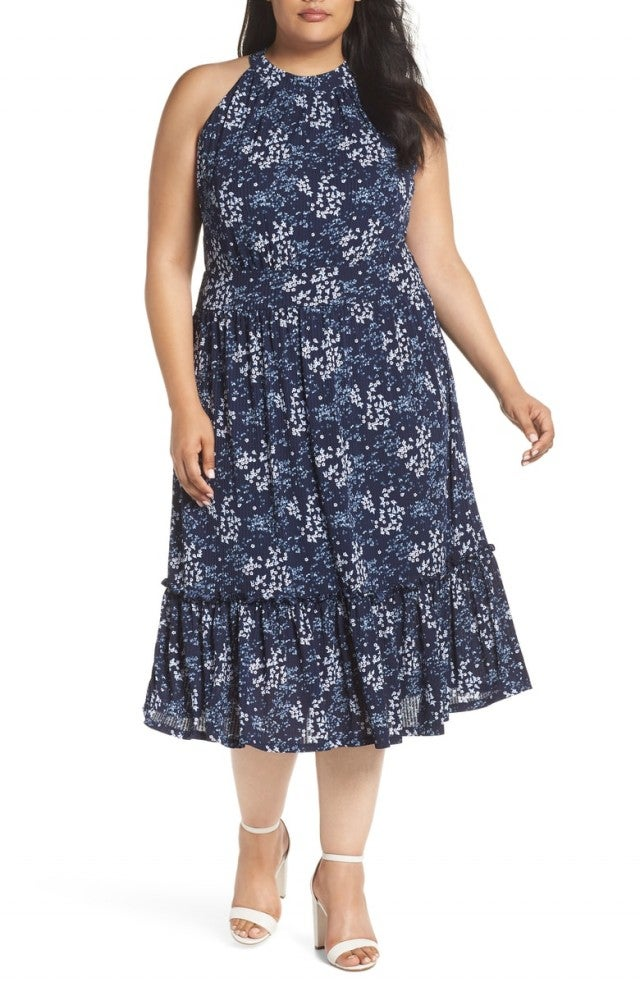 MICHAEL Michael Kors Floral Tiered Midi Dress