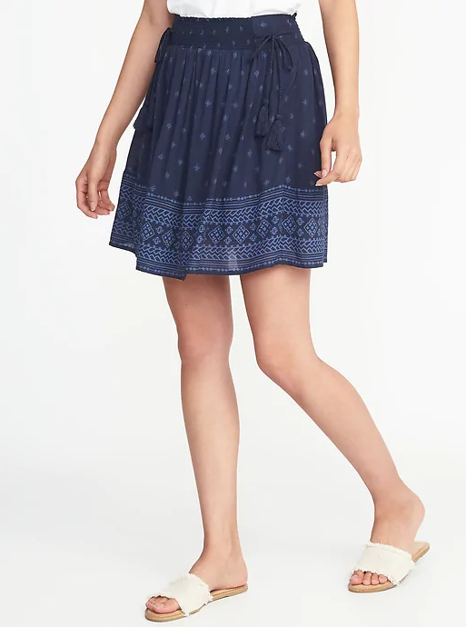 Old Navy blue printed mini skirt