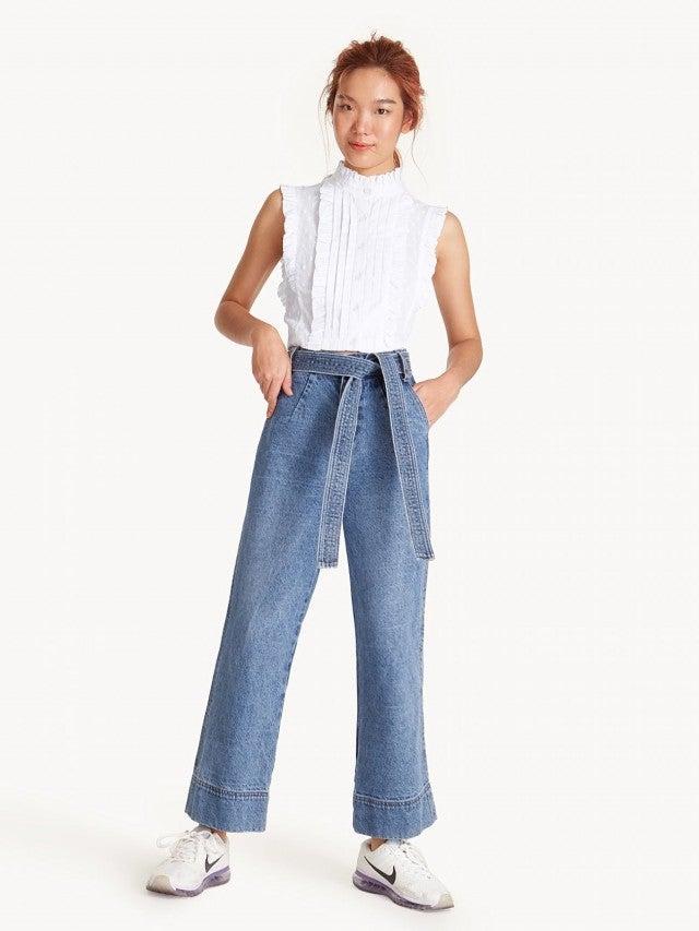 Pomelo High Waisted Tie Waist Culotte Jeans
