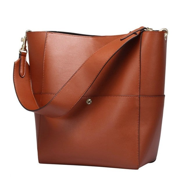 S-Zone brown leather tote