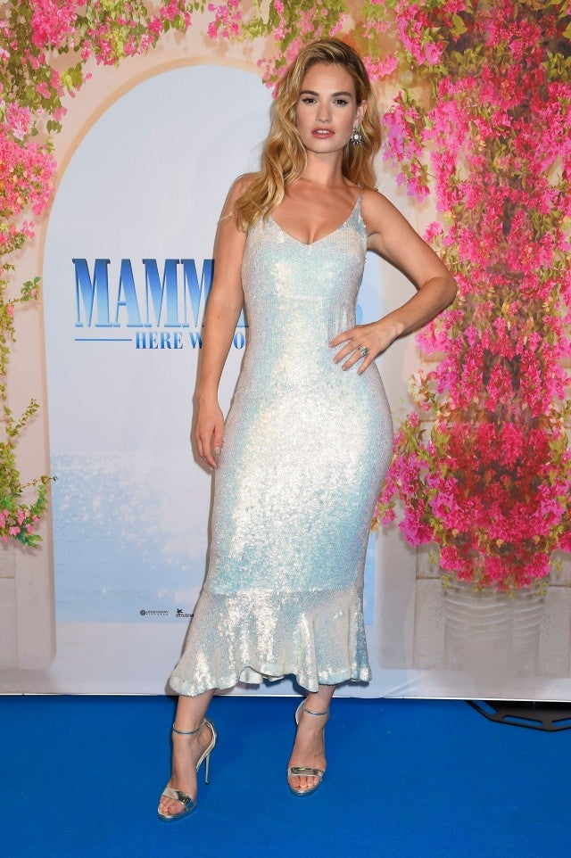 Lily James in Saloni dress