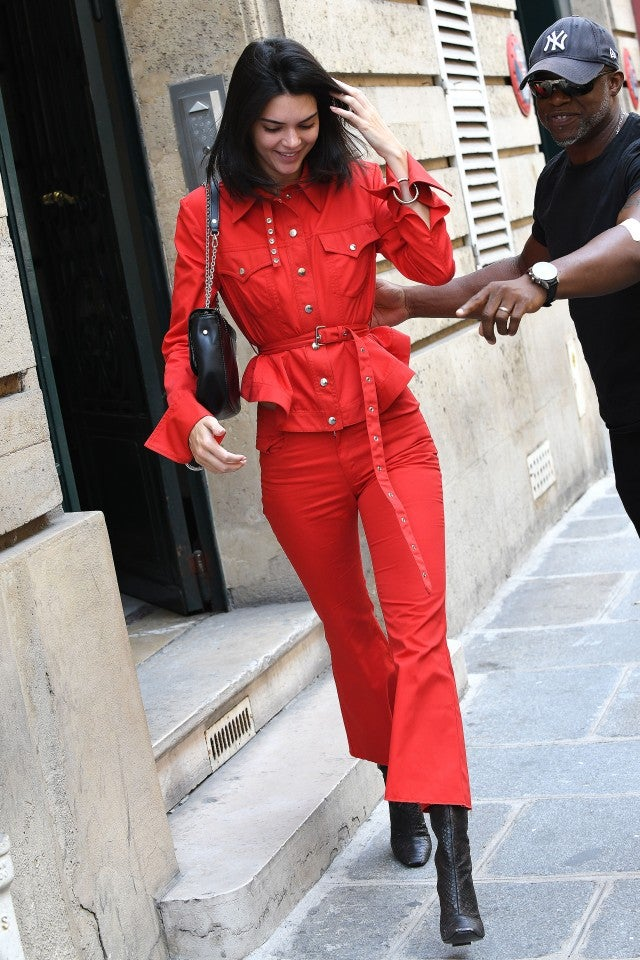Kendall Jenner in red outfit in Paris