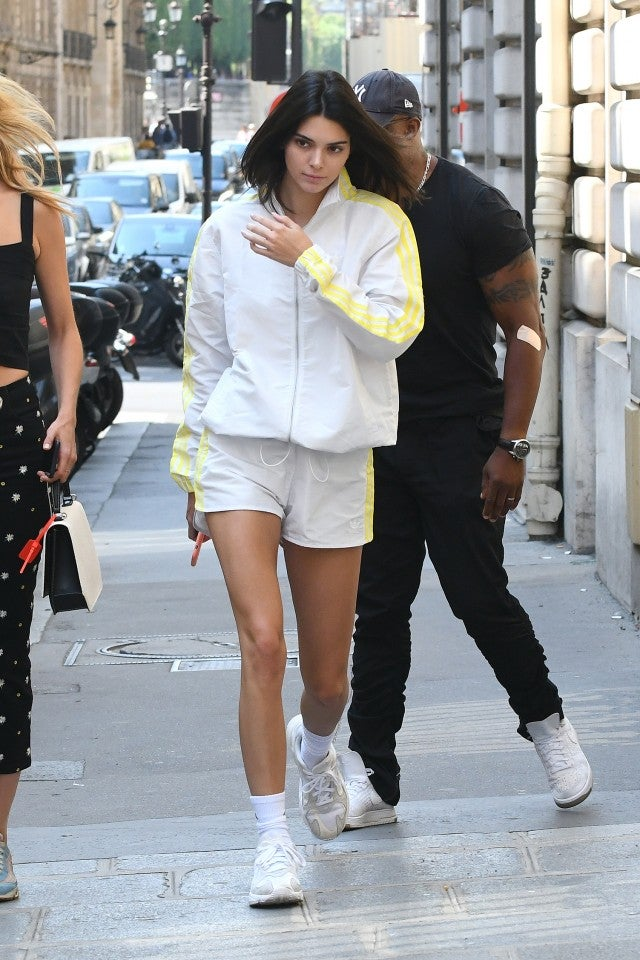 Kendall Jenner in sport matching set in Paris