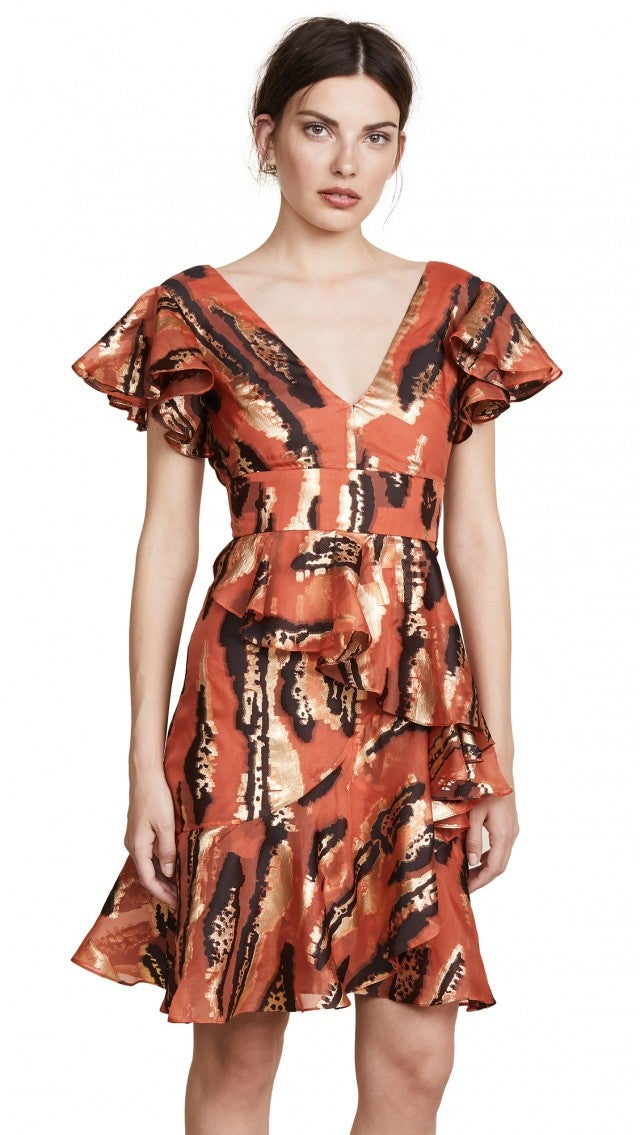 Temperley London orange printed mini dress