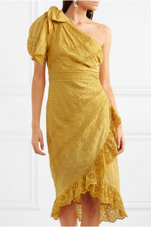 Ulla Johnson Gwyneth One-Shoulder Broderie Anglaise Cotton Dress