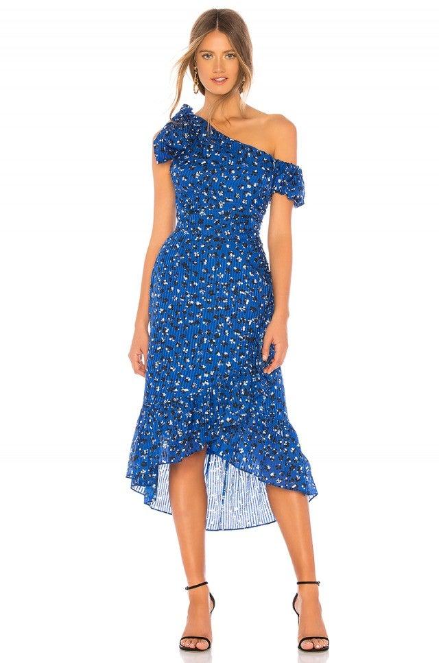 Ulla Johnson one-shoulder printed blue dress