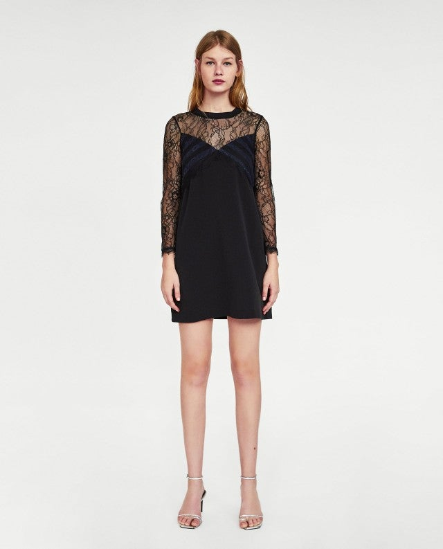 Zara Contrast Lace Dress