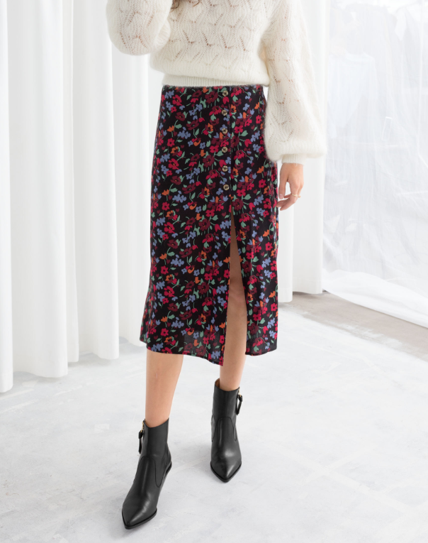 & Other Stories printed midi skirt