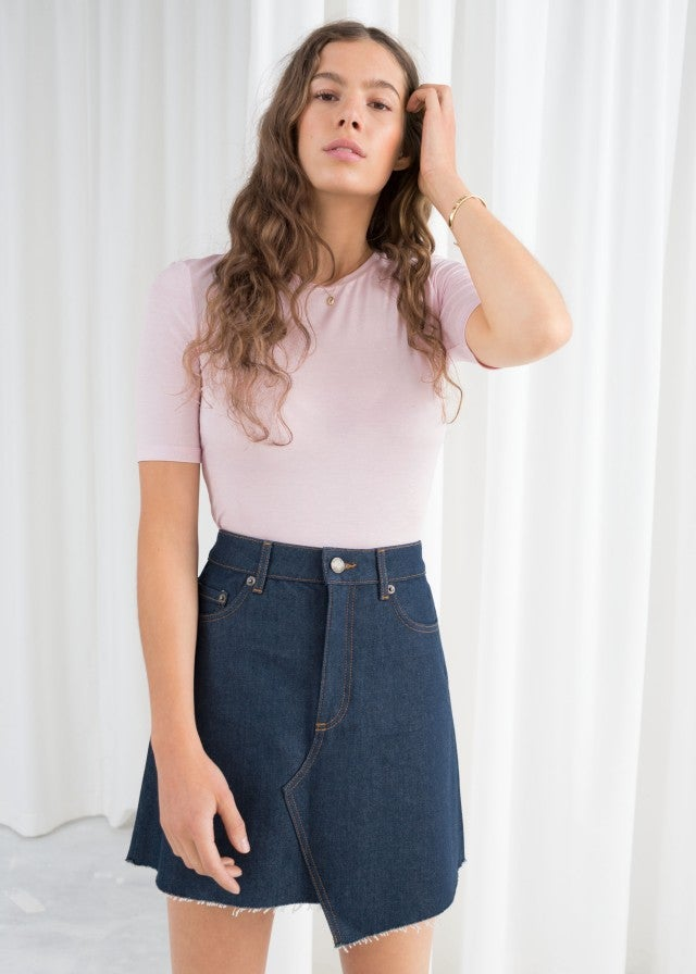 & Other Stories asymmetric denim skirt