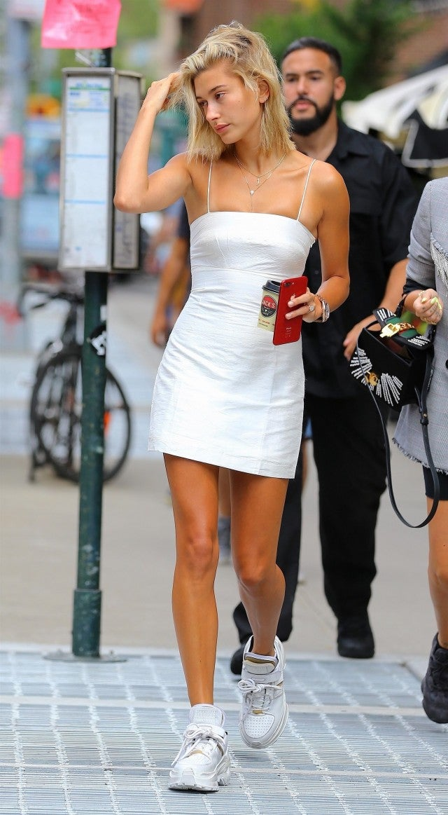 Hailey Baldwin short white dress