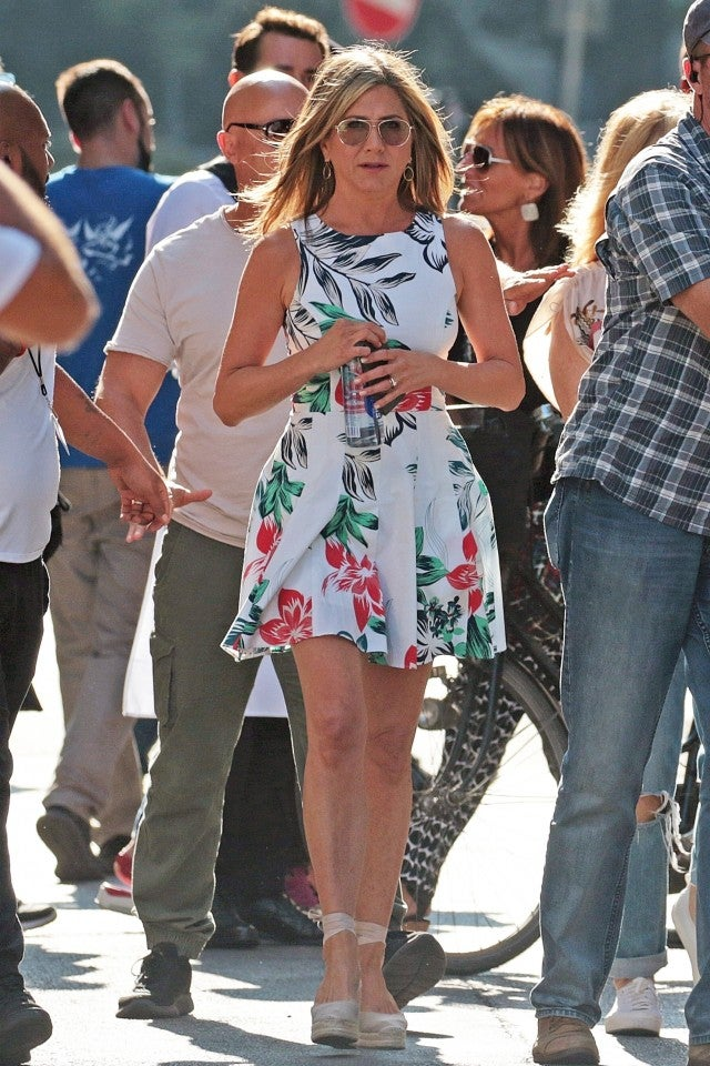 Jennifer Aniston floral mini dress
