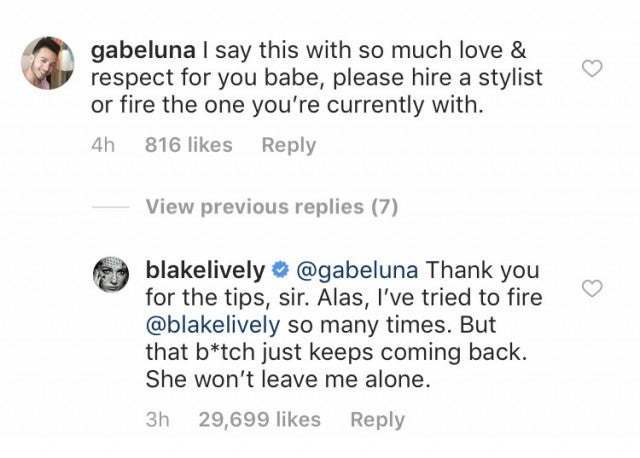 Blake Lively comments back to hater on Instagram