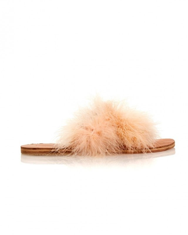 Brother Vellies feather slides
