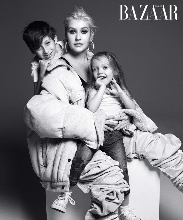 Christina Aguilera and her children in 'Harper's Bazaar' Icons issue