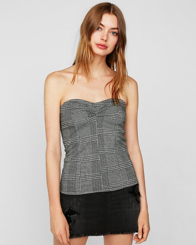 Express plaid bustier top