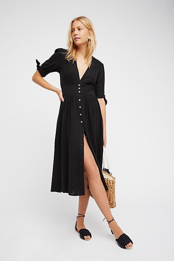 Free People buttoned black dress