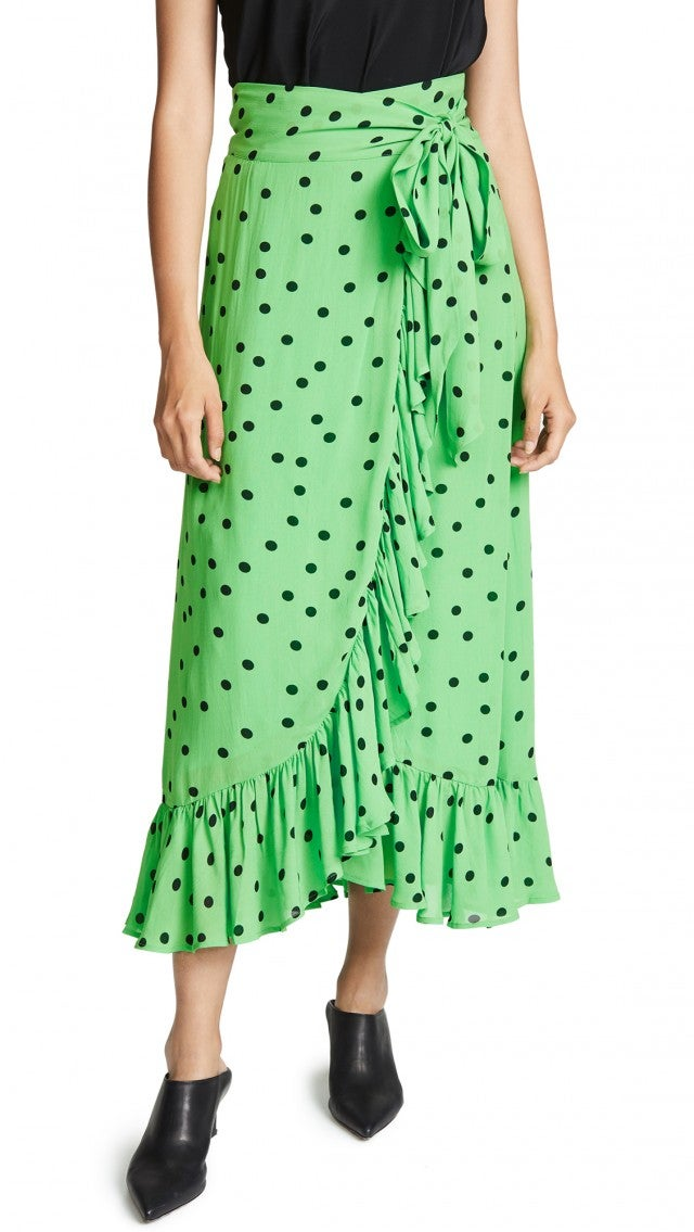 Ganni green polka-dot skirt