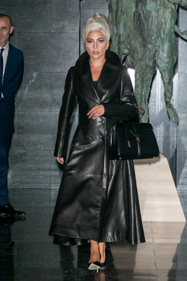 Lady Gaga leather coat with Celine bag