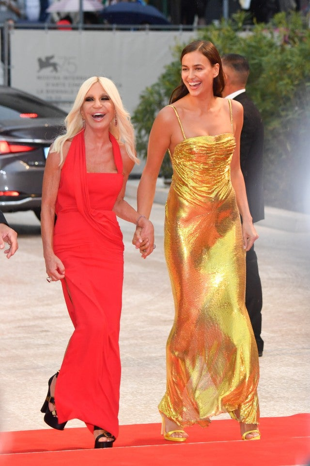 Donatella Versace and Irina Shayk at Venice Film Festival
