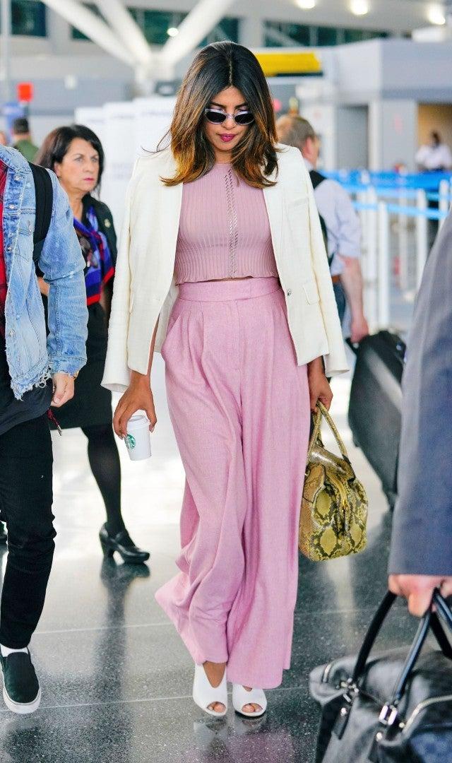 Priyanka Chopra pink airport outfit