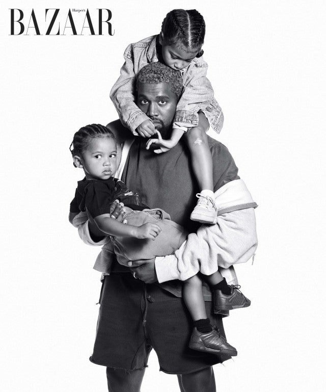 Kanye West with his daughter, North, and son, Saint, for Harper's Bazaar