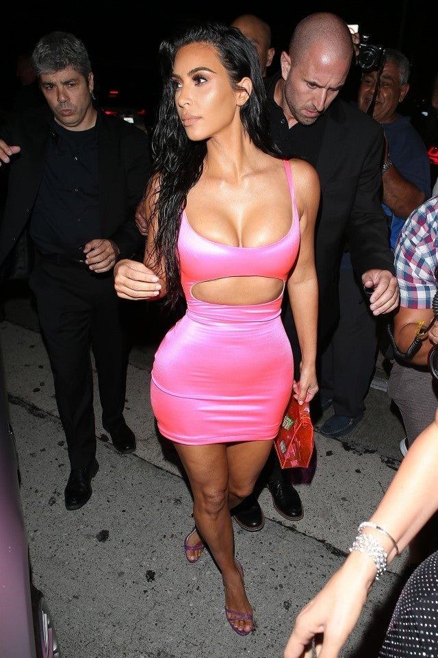 Kim Kardashian Slays In Revealing Pink Mini Dress At