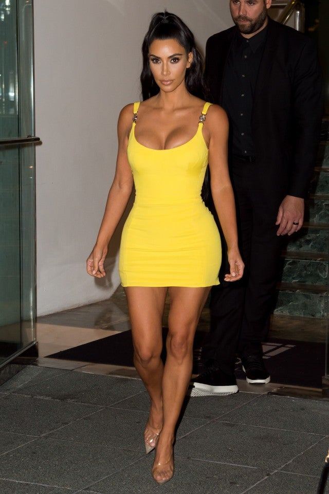 40524ba1 Kim Kardashian Stuns in Skintight Canary Yellow Mini Dress With the ...