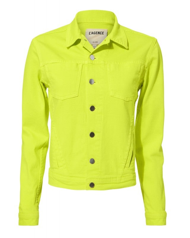 L'Agence neon yellow denim jacket