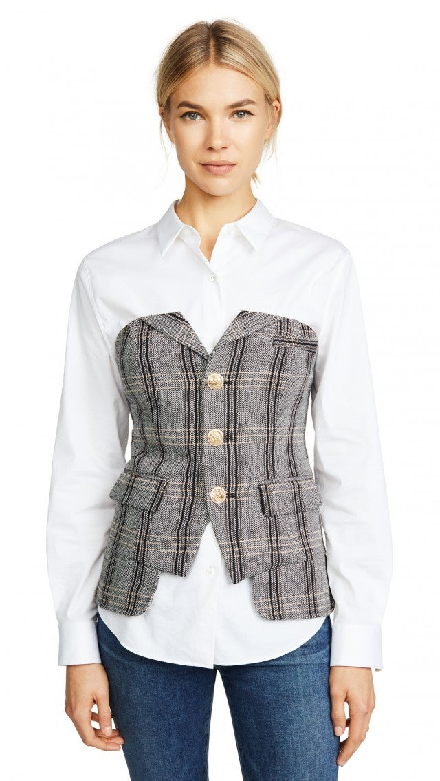 Laveer plaid bustier top