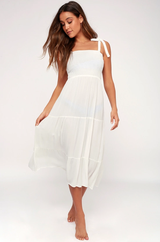 Lulus white dress with ties