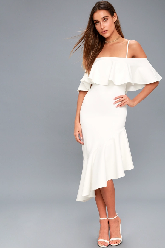 Lulus off-the-shoulder white dress