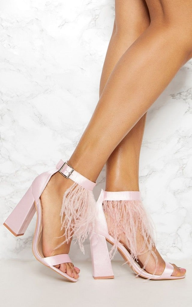Pretty Little Thing feather sandals