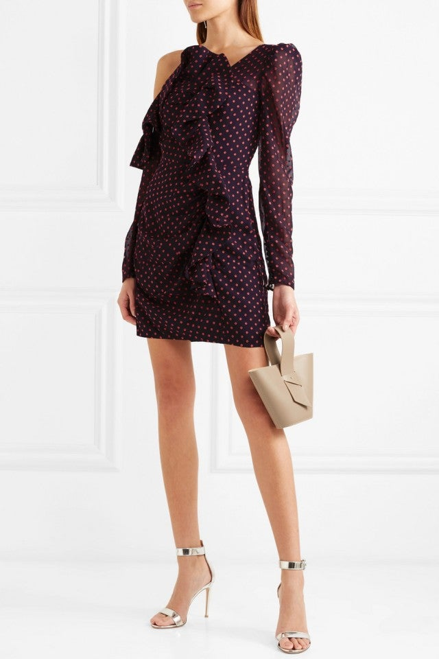 Self-Portrait dotted one-shoulder dress