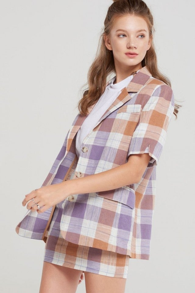 Storets plaid skirt suit