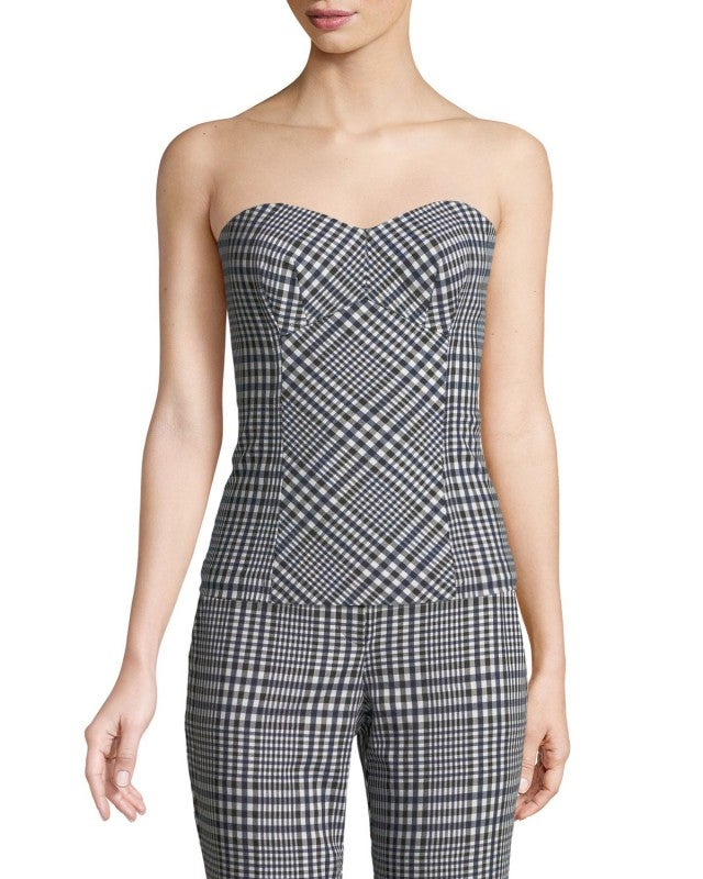 Trina Turk plaid bustier top