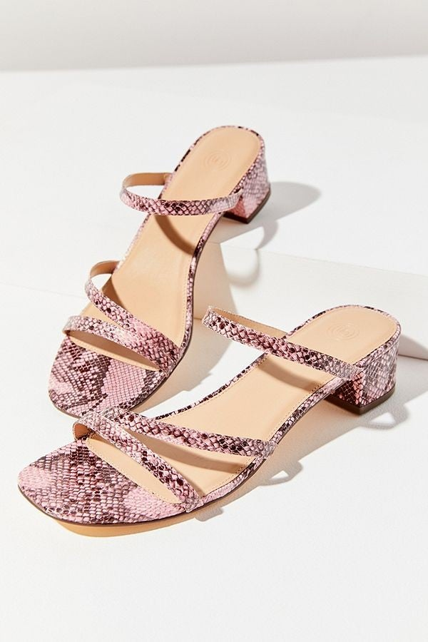 Urban Outfitters pink snakeskin sandals