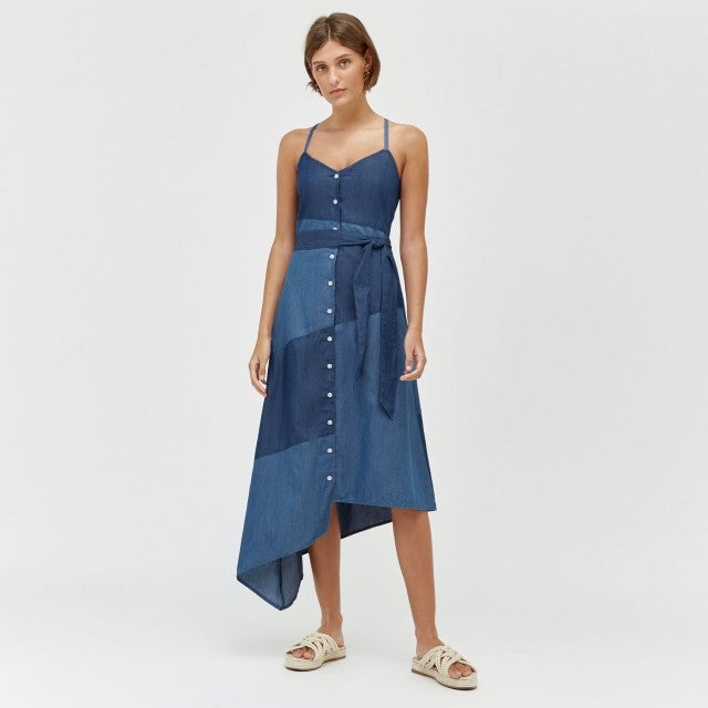 Warehouse patchwork denim dress