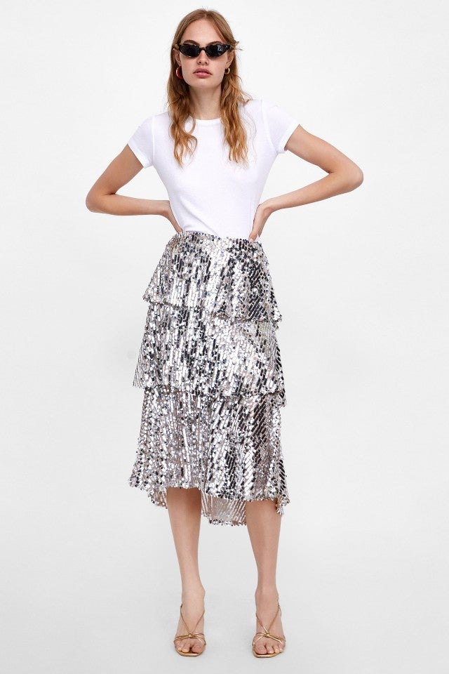 Zara silver sequin skirt