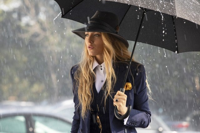 Blake Lively in pinstripe Ralph Lauren suit in A Simple Favor
