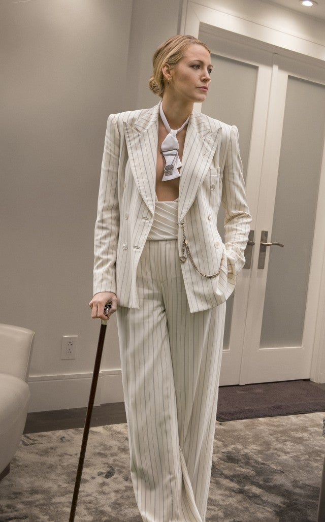 Blake Lively white Ralph Lauren suit in A Simple Favor