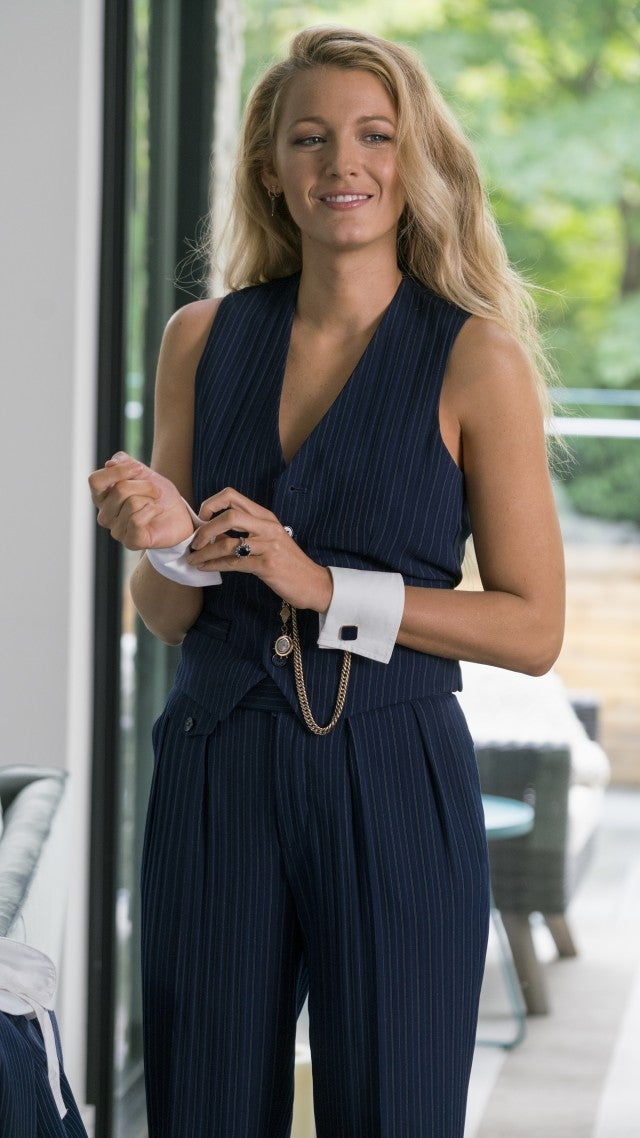 Blake Lively in Ralph Lauren suit in movie A Simple Favor