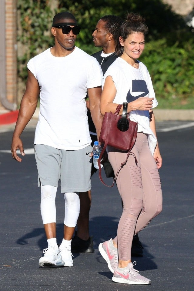 katie holmes and jamie foxx work up a sweat together at