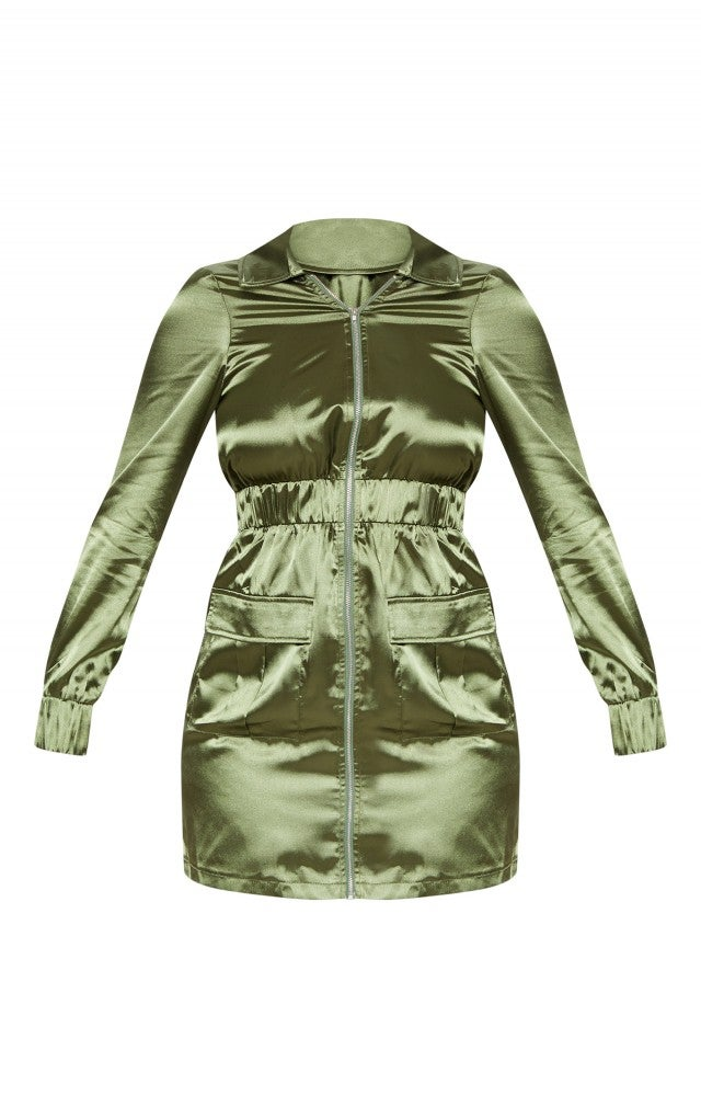Ashley Graham x PrettyLittleThing green mini dress