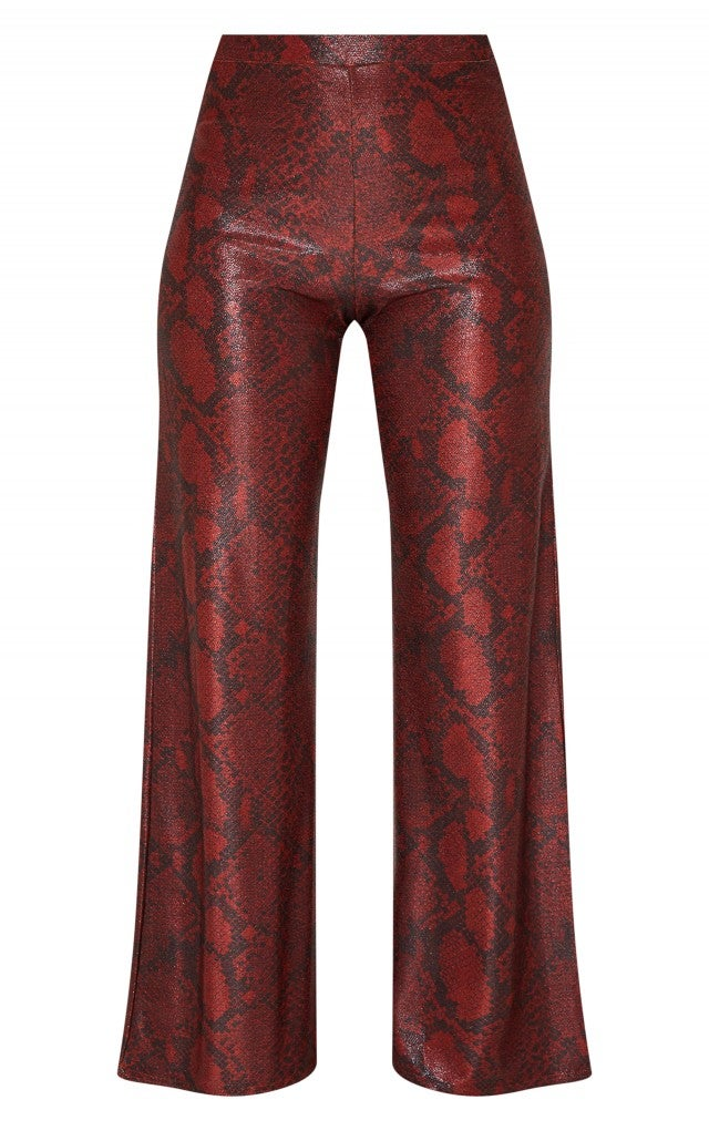 Ashley Graham x PrettyLittleThing red snakeskin pant